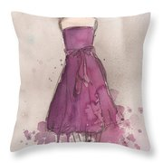 Purple Bow Dress Throw Pillow