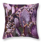 Purple Cactus Canvas Throw Pillow