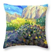 Purple Cactus With Yellow Flower Throw Pillow
