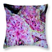 Purple Caladium Throw Pillow