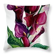 Purple Callas Throw Pillow