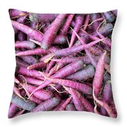 Purple Carrots Number 1 Throw Pillow
