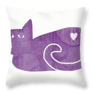 Purple Cat- Art By Linda Woods Throw Pillow