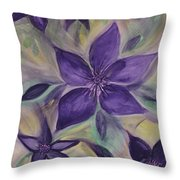 Purple Clematis Abstract Throw Pillow