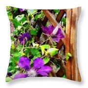Purple Clematis On Trellis Throw Pillow
