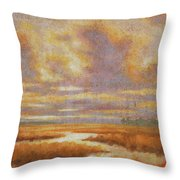 Purple Clouds On Marsh Throw Pillow