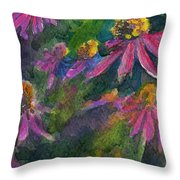 Purple Cone Flowers Outside Beye School Throw Pillow