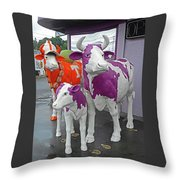 Purple Cow 2 Throw Pillow