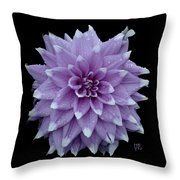 Purple Dahlia Cutout Throw Pillow