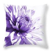Purple Dahlia Floral Throw Pillow