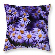 Purple Daisy Abstract Throw Pillow