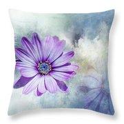 Purple Daisy Swirl Throw Pillow