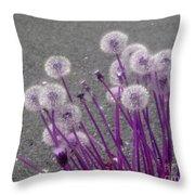 Purple Dandelions Throw Pillow