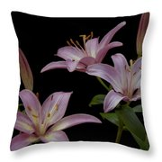 Purple Day Lilies Throw Pillow