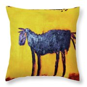 Purple Desert Donkey Throw Pillow