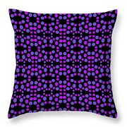 Purple Dots Pattern On Black Throw Pillow