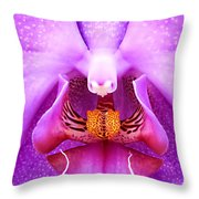 Purple Face In The Orchid. Throw Pillow
