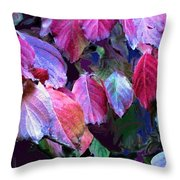 Purple Fall Leaves Throw Pillow