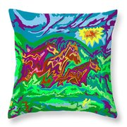 Purple Feathered Horses With Wider Surroundings Throw Pillow
