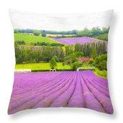 Purple Fields Of Love Throw Pillow