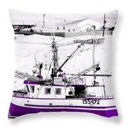 Purple Fishing Boat Throw Pillow