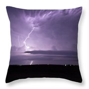 Purple Flames - Lightning On The Great Plains Throw Pillow
