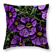 Purple Floral Fantasy Throw Pillow