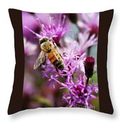 Purple Flower Bee Throw Pillow