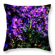 Purple Flower Still Life Throw Pillow