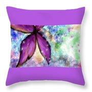 Purple Flower Watercolor Doodle Throw Pillow