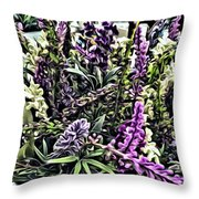 Purple Flowers In Bloom Throw Pillow