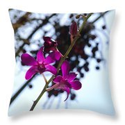 Purple Flowers In The Sky Throw Pillow