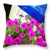 Purple Flowers On White Window 2 Throw Pillow