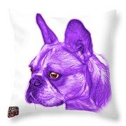 Purple French Bulldog Pop Art - 0755 Wb Throw Pillow