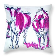 Purple Friesian Holstein Cows Drawing Throw Pillow