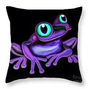 Purple Frog  Throw Pillow