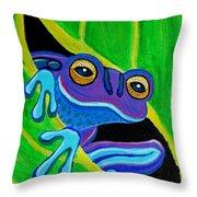 Purple Frog Peeking Through Throw Pillow