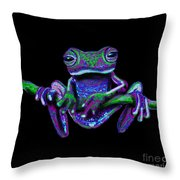 Purple Green Ghost Frog Throw Pillow