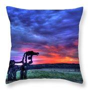 Purple Haze Sunrise The Iron Horse Throw Pillow