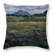 Purple Heather And Mount Errigal From Dore Co. Donegal Ireland   Throw Pillow