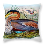Purple Heron Antique Bird Print John Gould The Birds Of Great Britain Throw Pillow