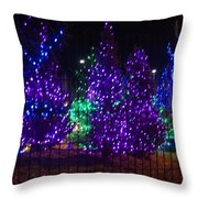 Purple Holiday Lights Throw Pillow