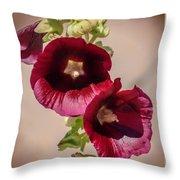 Purple Hollyhock Duo Throw Pillow
