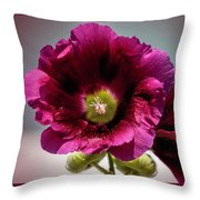 Purple Hollyhock Throw Pillow