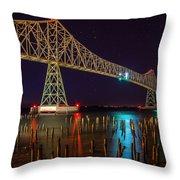 Purple Hour At Astoria Bridge Throw Pillow