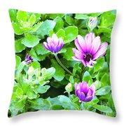 Purple In Greenery Throw Pillow