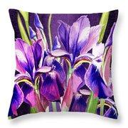 Purple Iris Dance  Throw Pillow