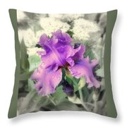 Purple Iris In Focal Black And White Throw Pillow