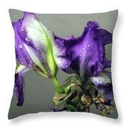 Purple Iris Water Drops Throw Pillow
