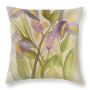 Purple Iris Watercolor Throw Pillow